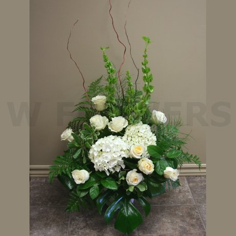 W Flowers product: Altar Arrangement with white hydrangea