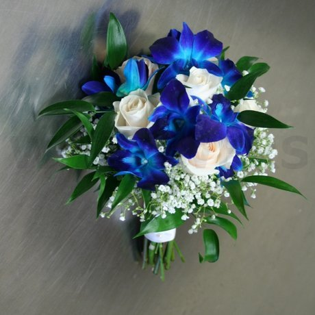 W Flowers product: Blue and Ivory bridal bouquet