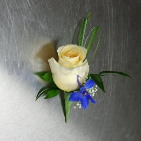 W Flowers product: Blue Delphinium and Rose Boutonniere