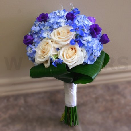 W Flowers product: Blue Hydrangea and Cream Roses Bridal Bouquet