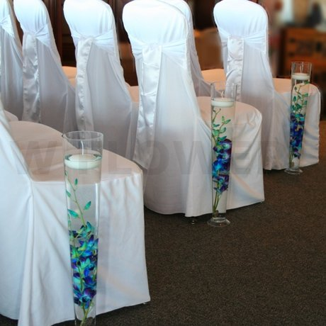 W Flowers product: Blue Orchid Wedding Ceremony Pew End