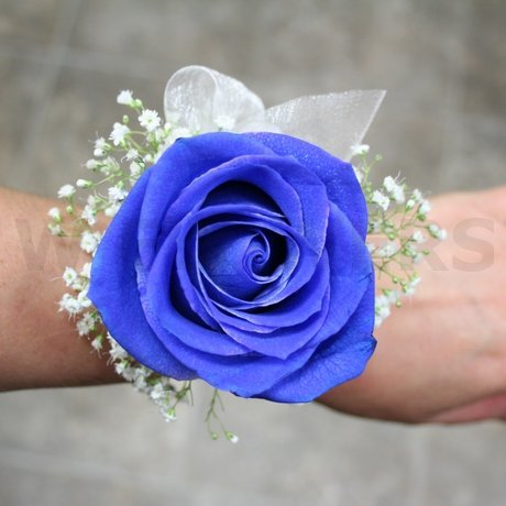 W Flowers product: Blue Rose Wrist Corsage