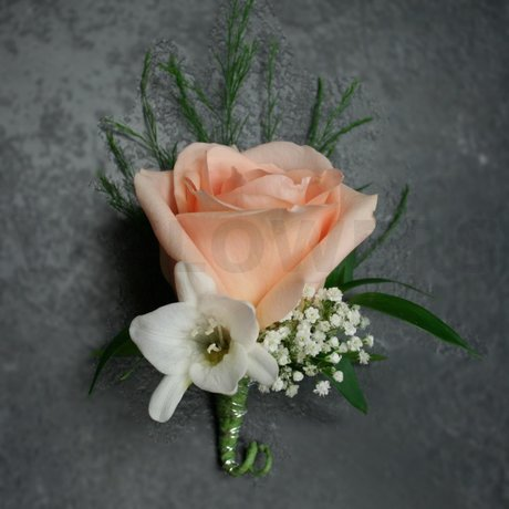W Flowers product: Boutonniere with Peach Rose and White Freesia