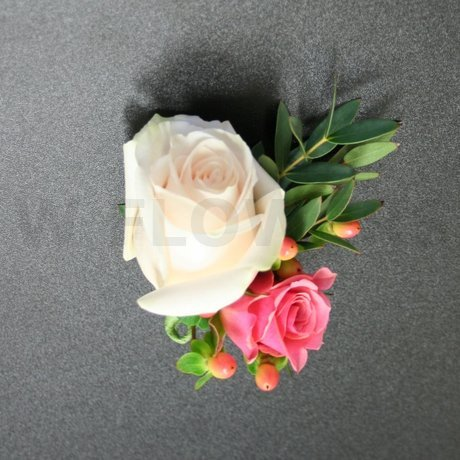 W Flowers product: Boutonniere with White and Peach Roses