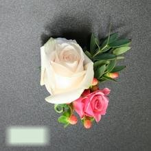 W Flowers product category: Boutonniere with White and Peach Roses
