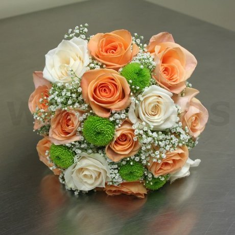 W Flowers product: Bridal Bouquet in peach and lime green