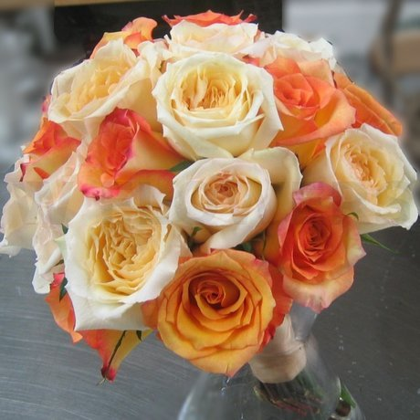 W Flowers product: Bridal Bouquet in Peach and Orange