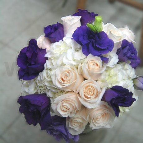 W Flowers product: Bridal bouquet in white and purple