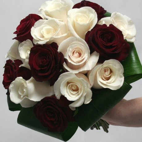 W Flowers product: Bridal Bouquet Ivory and Red Roses