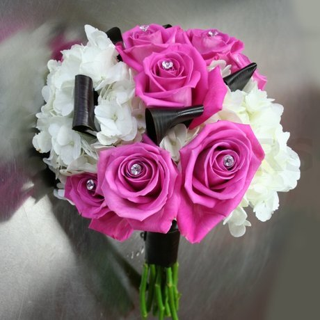W Flowers product: Bridal Bouquet with black and fuchsia