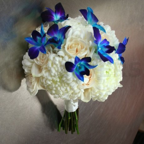 W Flowers product: Bridal Bouquet with Blue Orchids