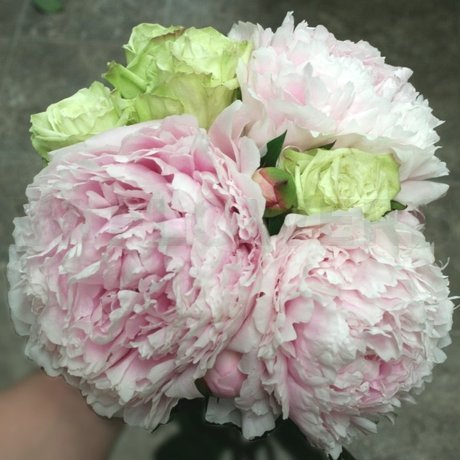 W Flowers product: Bridal Bouquet with Peonies and Green Roses