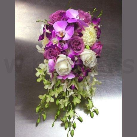 W Flowers product: Bridal Bouquet with Purple and White Orchids