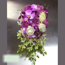 W Flowers product category: Bridal Bouquet with Purple and White Orchids
