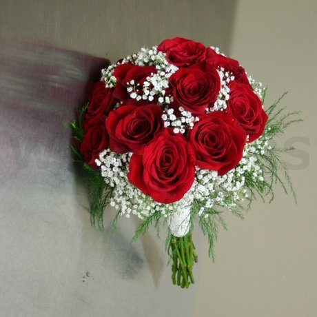 W Flowers product: Bridal Bouquet with Red Roses and Baby's Breath