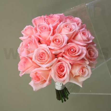 W Flowers product: Bridal Bouquet with Salmon Roses