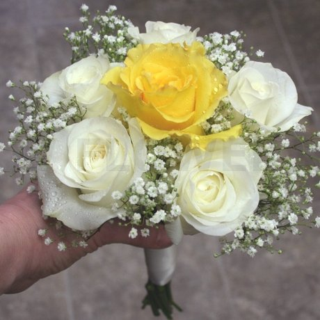 W Flowers product: Yellow and White Bridesmaid Bouquet