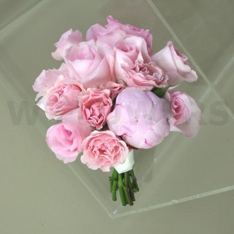 W Flowers product: Bridesmaid bouquet with blush roses and peony