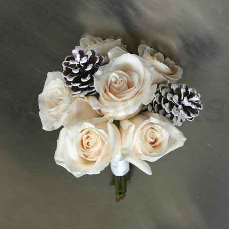 W Flowers product: Bridesmaid Bouquet with Pine Cones