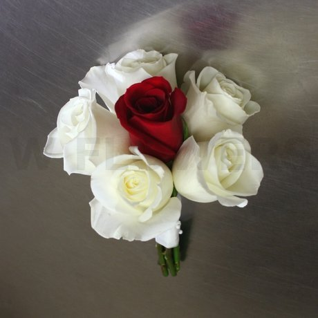 W Flowers product: Bridesmaid Bouquet with white and red roses