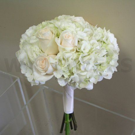 W Flowers product: Bridesmaid Bouquet with White Hydrangea and Ivory Roses