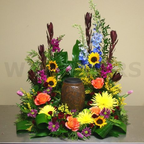 W Flowers product: Bright Flowers for Cremation Urn