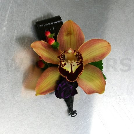 W Flowers product: Buttonhole for wedding with brown cymbidium