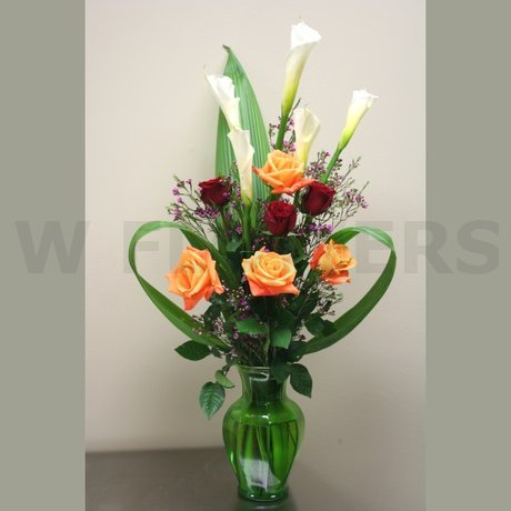W Flowers product: Calla and Roses in a Vase
