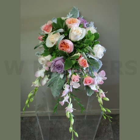 W Flowers product: Cascade wedding bouquet in peach