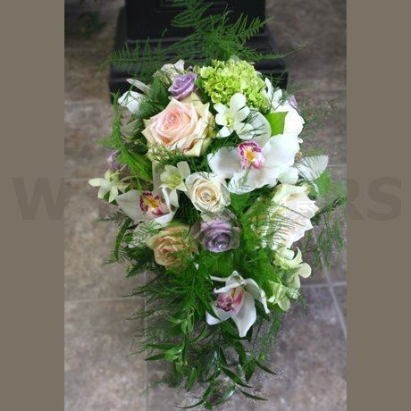 W Flowers product: Cascading Bridal Bouquet in white and lavender