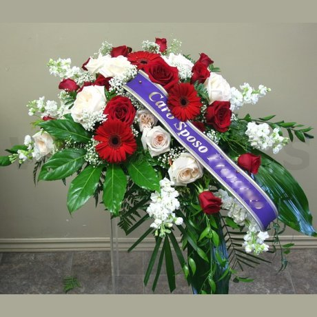 W Flowers product: Casket flowers in red and white