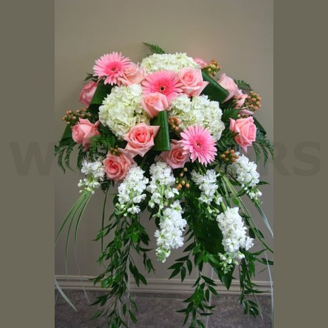 W Flowers product: Casket Spray in White and Pink