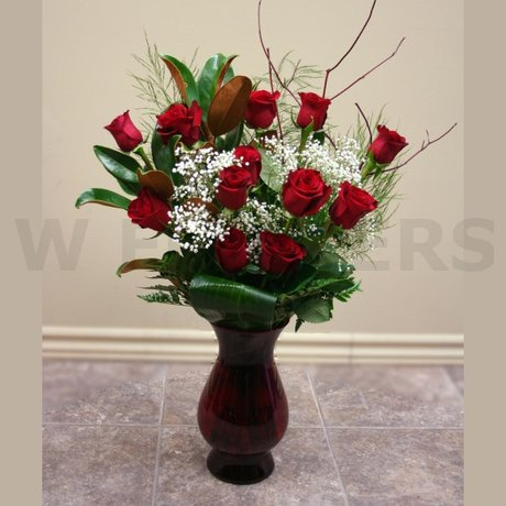 W Flowers product: Classic Dozen Red Roses in a Vase