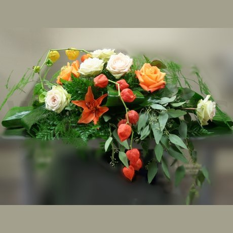 W Flowers product: Contemporary Autumn Casket Spray