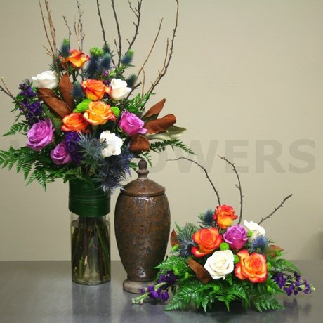W Flowers product: Contemporary Fall Funeral Urn Flowers