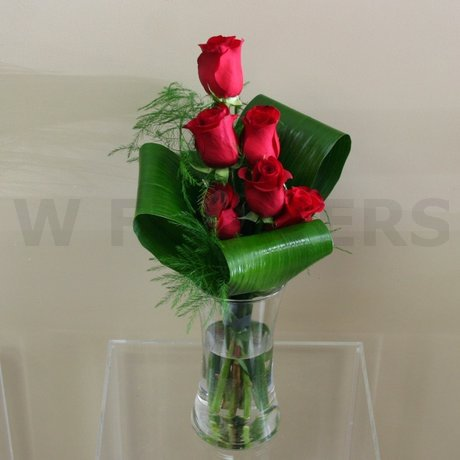 W Flowers product: Contemporary red roses in a vase