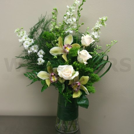 W Flowers product: Contemporary Vase in White and Yellow