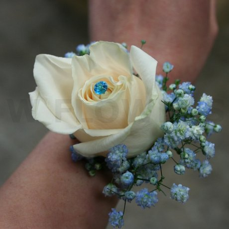 W Flowers product: Corsage for Prom with Blue Crystal