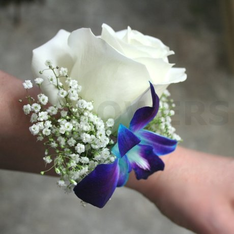 W Flowers product: Corsage with Blue Orchid and White Rose