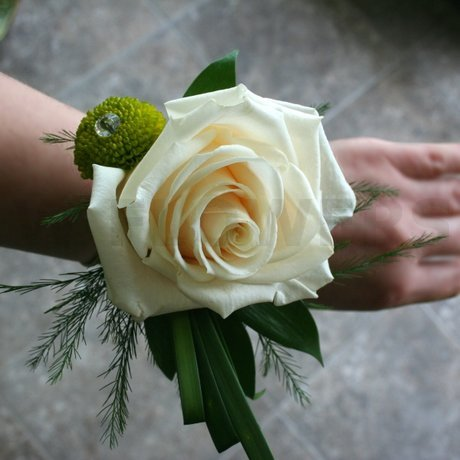 W Flowers product: Corsage with Ivory Rose and Lime Green Mum