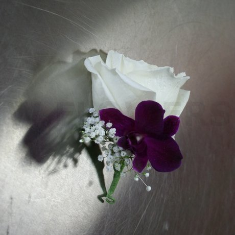 W Flowers product: Corsage with purple orchid and white rose