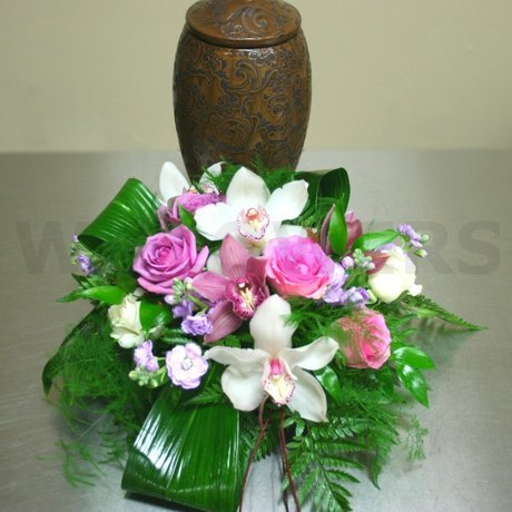 W Flowers product: Cremation Urn Flower Arrangement