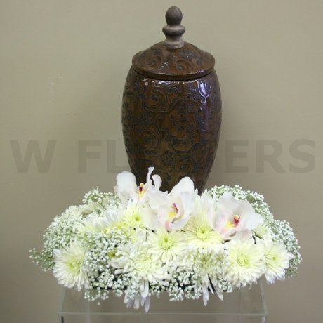 W Flowers product: Cremation Urn White Flowers