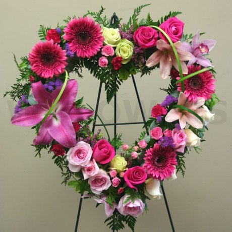 W Flowers product: European Style Sympathy Heart