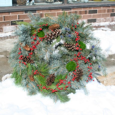 W Flowers product: Evergreen wreath for a grave