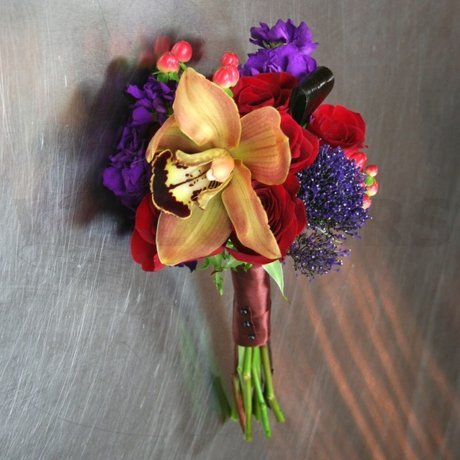 W Flowers product: Fall Themed Bridesmaid Bouquet with Brown Orchid