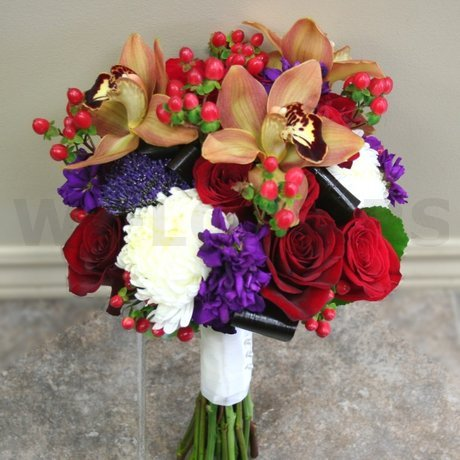 W Flowers product: Fall Themed Wedding Bouquet with Brown Cymbidiums