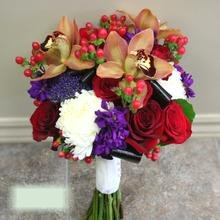 W Flowers product category: Fall Themed Wedding Bouquet with Brown Cymbidiums