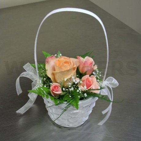 W Flowers product: Flower Girl Basket with Peach roses