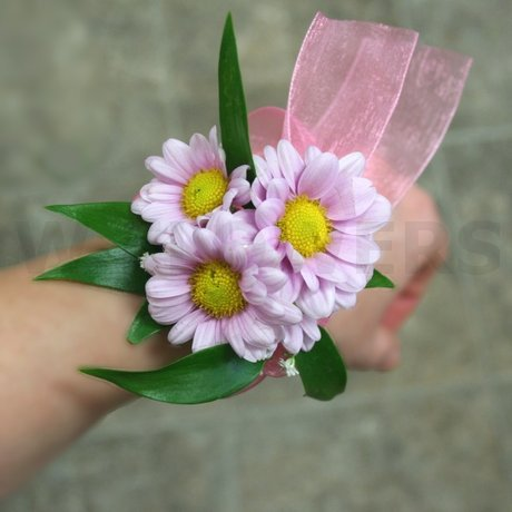 W Flowers product: Flower Girl Corsage with pink daisies